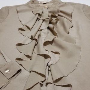 Michael Kors Long-Sleeve Ruffle-Front Blouse